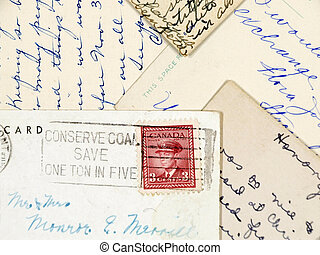manuscrito, viejo, postales