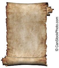 manuskript, grov, rulle, av, pergament