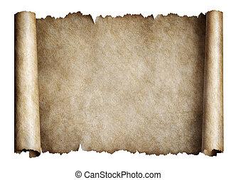 manusript, of, oud, perkament, boekrol