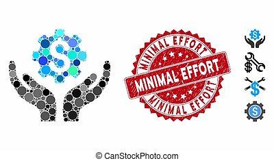 manutenção, esforço, preço, ícone, selo, mínimo, colagem, angústia