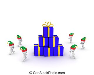 Many 3D Characters Wearing Elf Hats