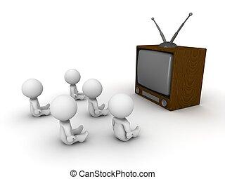 Many 3D guys sitting watching TV