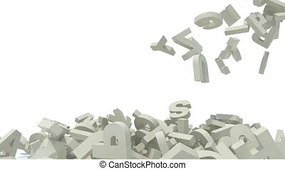 many 3d letters fall on white background, 3d animation