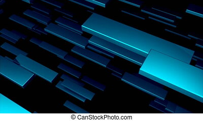 Many 3D metallic blocks are in space, computer generated modern abstract background, 3d render