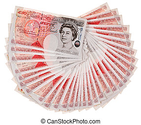 Many 50 pound sterling bank notes fanned out, isolated on...