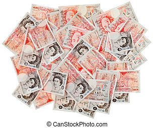 Many 50 pound sterling bank notes business background, isolated  on white