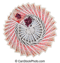 Many 50 pound sterling bank notes with diamonds fanned out, isolated on white