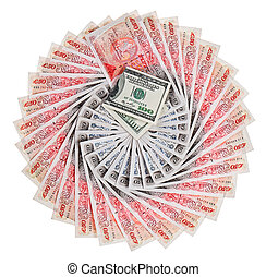 Many 50 pound sterling bank notes with 100 dollar fanned out, isolated on white