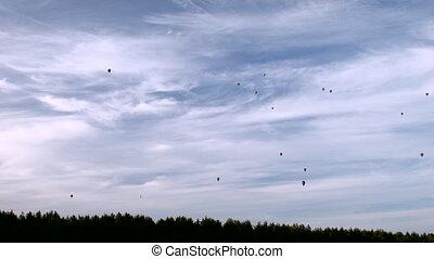 Many air balloon on the sky