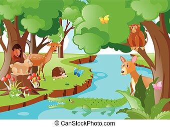Many animals living by the river