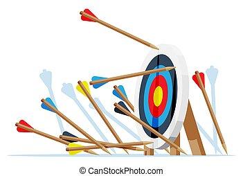 Many arrows missed target mark.