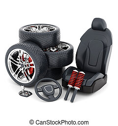 many auto parts on a white background