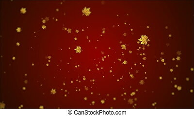 many autumn leaves on a red background