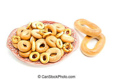 many bagels on a plate