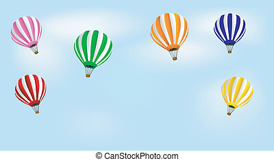 many balloons in blue sky