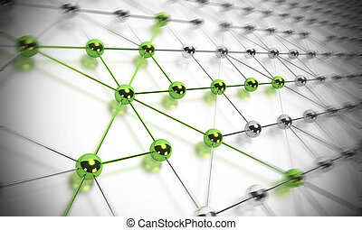 many balls linked together and composing a network, some...