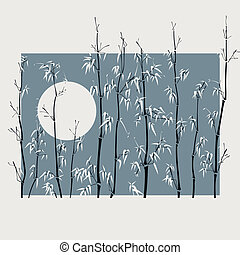 Square vector illustration with many bamboo plants with Moon in asian style in wide light frame.