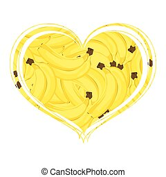 Many bananas in the form of a heart