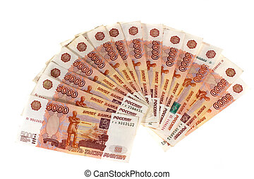 Many banknotes. Many Russian banknotes.