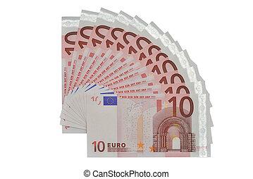 many banknotes of ten Euros form a fan