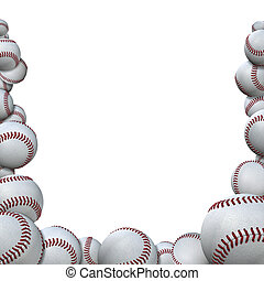 Many 3D rendered baseballs form a border background for your baseball season sports images.