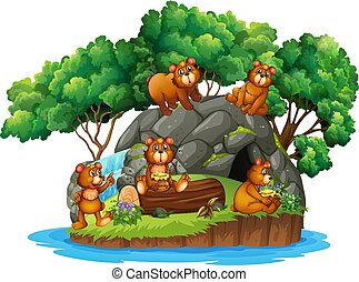 Many bears on the island