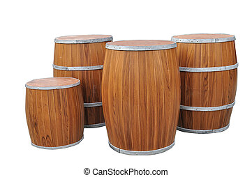 Many Beers Barrel-Shaped isolated with clipping path.