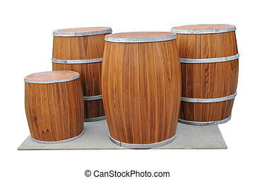 Many Beers Barrel-Shaped on gray board isolated with clipping path.