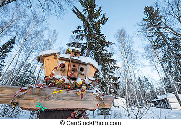 Many birdhouses, for birds and feeders on the tree. Houses for birds in the winter under the snow on the tree. Bird protection in the park with birds nesting-boxes collection.