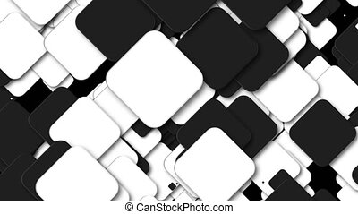 Many black and white squares are in space, computer generated modern abstract background, 3d render