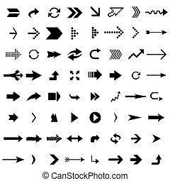 Many black arrows isolated