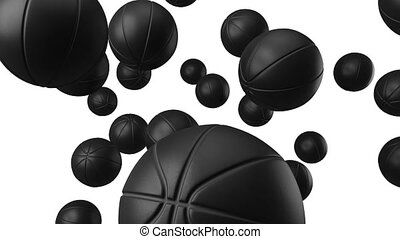 Many black basketball balls on white background.