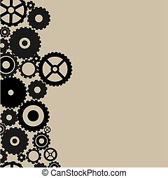 Many black gears on light brown background