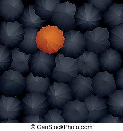 Many black umbrellas, one orange. - Vector illustration: top...