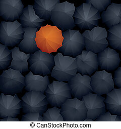 Many black umbrellas, one orange. - Vector illustration: top...