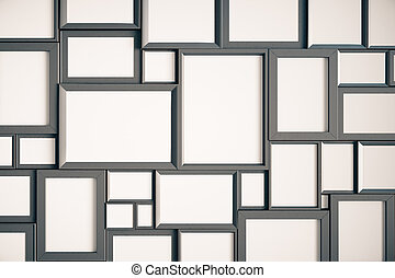 Many blank wooden picture frames on the wall, mock up