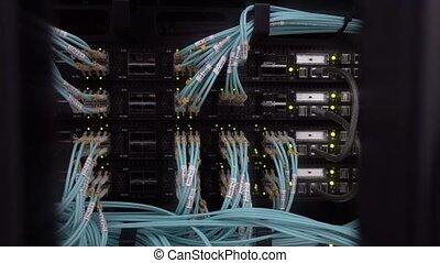 Many Blink Led Lamp Server Rack. Datacenter concept 2021