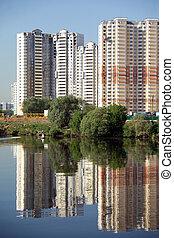Many block of flats constructing