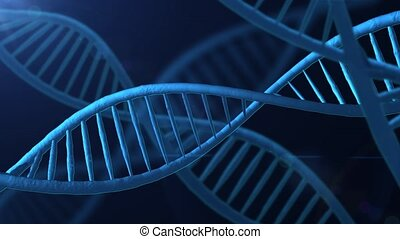 Many blue digital dna structures. Blue background