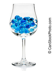 glass marbles in the wine glass