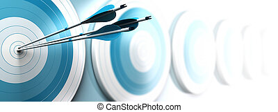 many blue targets and three arrows reaching the center of the first one, image fading from blue to white with blur effect, horizontal format dedicated for a banner. Strategic marketing or business competitive advantage concept.