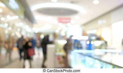 Many blurred people inside city mall