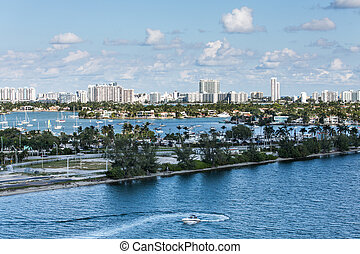 Many Boats in Biscayne Bay - Road Through Many Boats in...