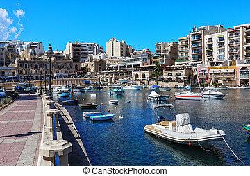 Many boats moored at the Marina