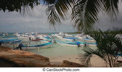 Many boats moored in the port of Bayahibe in the Dominican ...