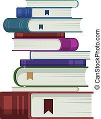 Many Books Lay on iSolated White Background.