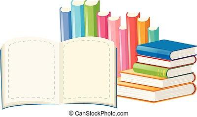 Many books on white background
