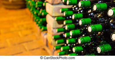 Many bottles in wine cellar