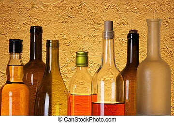 Many bottles of alcohol