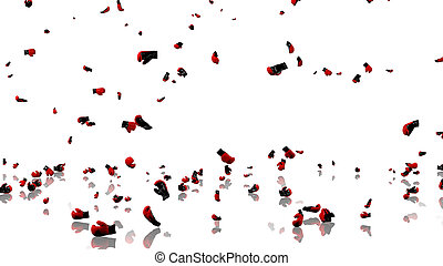 Many Boxing Gloves raining with a reflecting floor and a white background